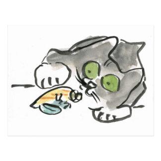 Postal Cangrejo de ermitaño y gatito