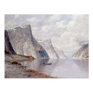 Postal Canotaje en un fiordo noruego (aceite en lona)