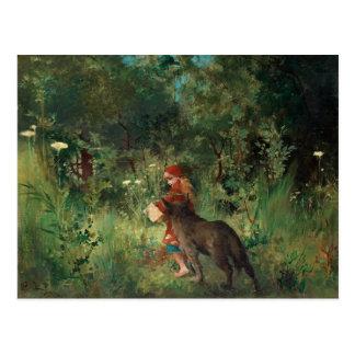 Postal Caperucita Rojo, pintura de la bella arte