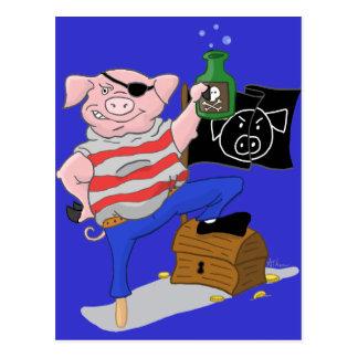 Postal Capitán Cartoon del cerdo del pirata