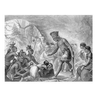 Postal Capitán Smith rescatado por Pocahontas