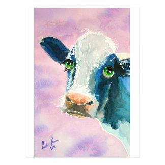 Postal Cara de la vaca con la pintura de la acuarela de