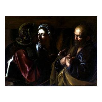 Postal Caravaggio la negación de San Pedro