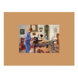 Postal Carl Larsson en el taller 1853