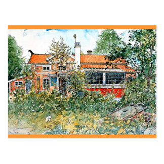Postal Carl Larsson: La cabaña, pintando por Larsson