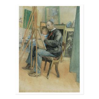Postal Carl Larsson que pinta con su hija