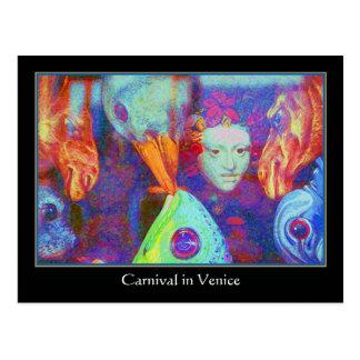Postal Carnaval en Venecia - máscaras coloridas del