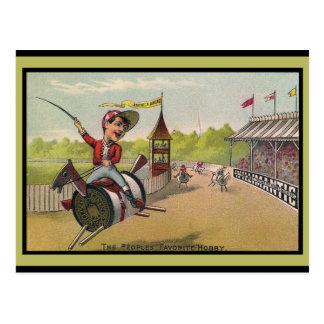 Postal Carrera de caballos en los carretes del hilo