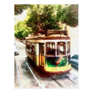 Postal Carretilla en Lisboa Portugal - el tranvía de