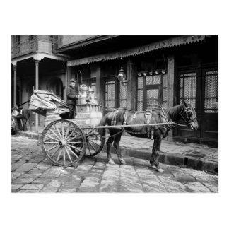 Postal Carro de la leche de New Orleans: 1903