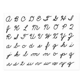 Postal carta cursiva de la escritura