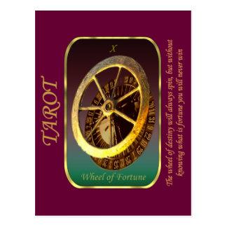 Postal Carta de tarot - rueda de la fortuna