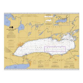 Postal Carta náutica del lago Ontario