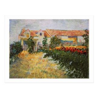 Postal Casa con los girasoles, Vincent van Gogh