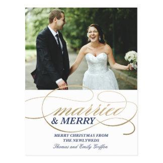 Postal casada y feliz del navidad del |