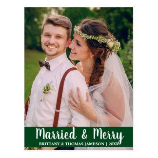 Postal casada y feliz GR de la foto del boda del