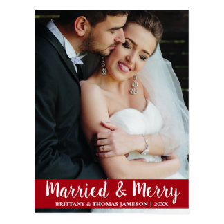 Postal casada y feliz R de la foto del boda del