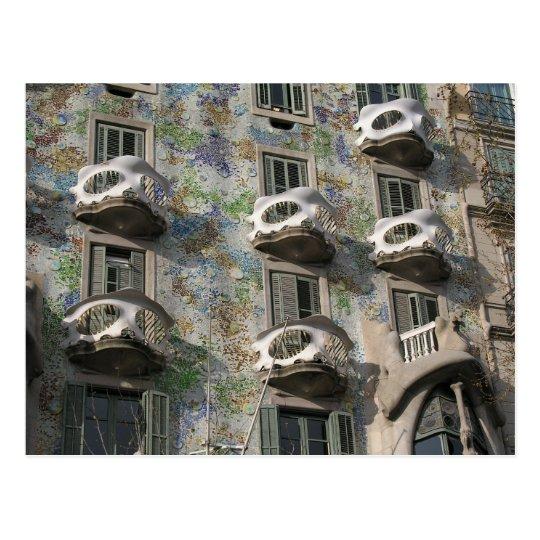 Postal Casas Batlló en Barcelona de Antoni Gaudí