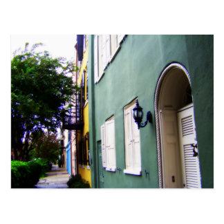 Postal Casas de fila del arco iris de Charleston