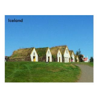Postal Casas del césped en Glaumbær, Islandia