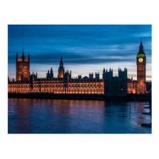 Postal Casas del parlamento y de Big Ben, Londres,