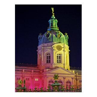 Postal castillo Charlottenburg Berlín Alemania iluminada