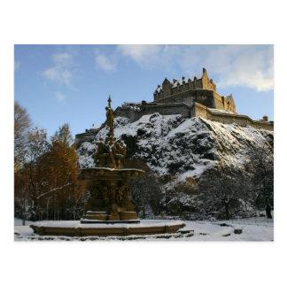 Postal Castillo de Edimburgo en invierno