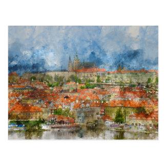 Postal Castillo de Praga con el puente famoso de Charles