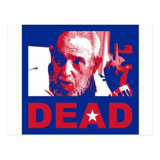 Postal Castro muerto (colores de la Cubano-bandera)