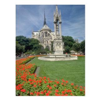 Postal Catedral blanca de Notre Dame, flores de París