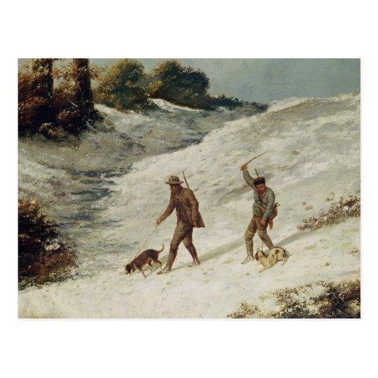 Postal Cazadores en la nieve o los cazadores furtivos