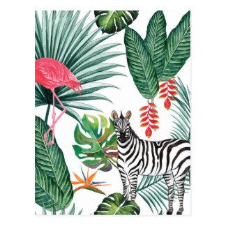 Postal Cebra y flamenco tropicales de la impresión de la