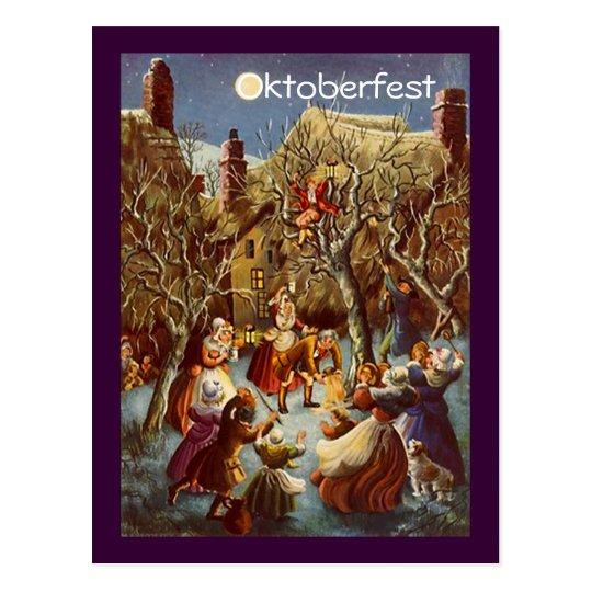 Postal Celebración de Oktoberfest del fiesta de la Luna