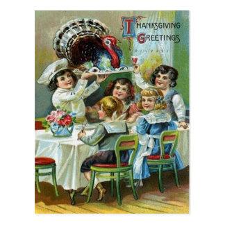 Postal Cena de la acción de gracias de los niños