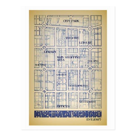 Postal central del mapa de la rejilla de Milton