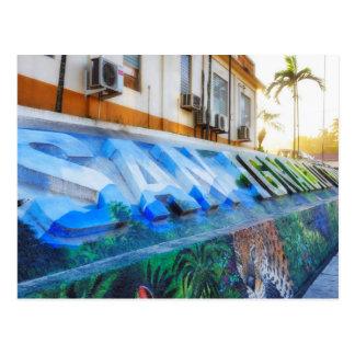 Postal céntrica del mural de San Ignacio Belice