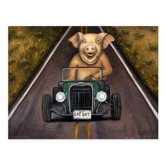 Postal Cerdo de camino