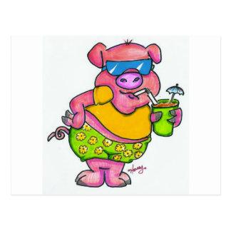 Postal Cerdo de las vacaciones