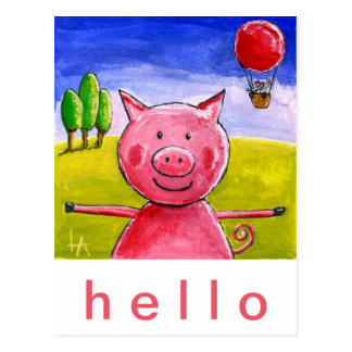 Postal Cerdo feliz