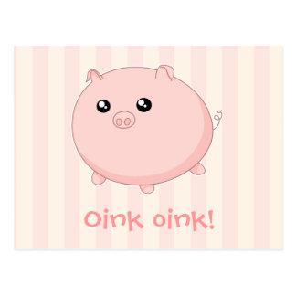 Postal Cerdo rosado rechoncho lindo de Kawaii