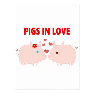 Postal cerdos en amor