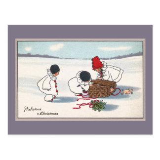 Postal Cerdos en el navidad del vintage de la fuga