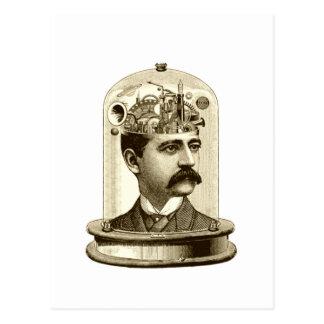 Postal Cerebro del mecanismo del steampunk del vintage,