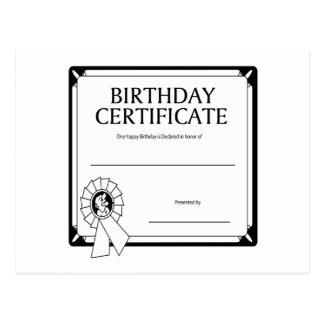 Postal Certificado del cumpleaños
