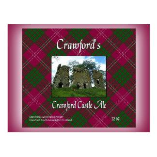 Postal Cerveza inglesa del castillo de Crawford de