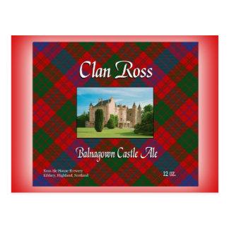 Postal Cerveza inglesa del castillo de Ross Balnagown del