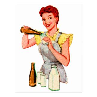 Postal Cerveza y leche retras de raíz de la soda del