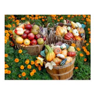 Postal Cestas de fruta y de verduras del otoño