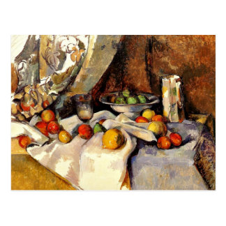 Postal Cezanne - todavía poste, botella, taza y fruta de