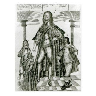 Postal Charles I con sus niños